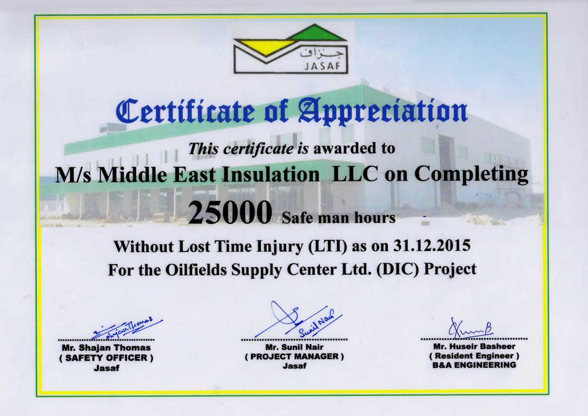 Certificate for Completing 25000 Safe Man Hours